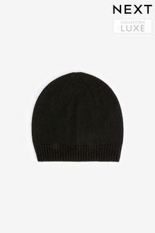 Black Cashmere Ribbed Hat