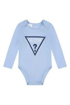 Guess Baby Boys Blue Cotton Logo Bodysuit