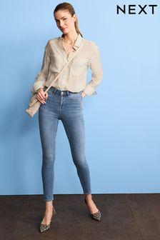 Mid Blue Power Stretch Denim Leggings