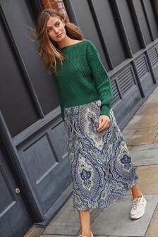 Dark Green Layered Jumper Dress