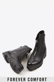 Black Forever Comfort® Front Zip Chunky Boots
