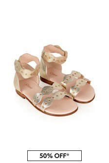 Chloe Kids Chloe Girls Gold Leather Sandals