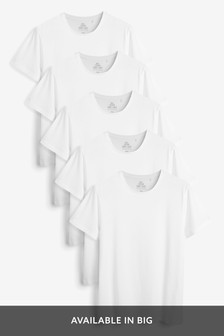 White Regular Fit T-Shirts Five Pack