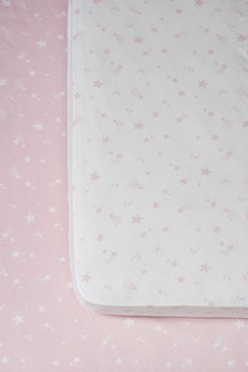 Pink 2 Pack Pink Stars Cotton Fitted Sheets