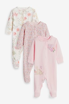 Pink Bunny 3 Pack Embroidered Detail Sleepsuits (0-3yrs)