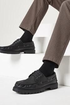 Black Formal Boat Shoes