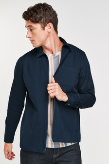 Dark Blue Lightweight Zip Shacket