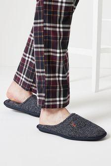 Navy Herringbone Stag Mule Slippers
