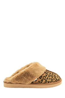Animal Suede Mule Slippers