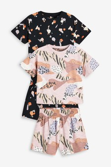 Caramel/Black 2 Pack Terrazzo/Camo Print Cotton Pyjamas With Paperbag Shorts (3-16yrs)