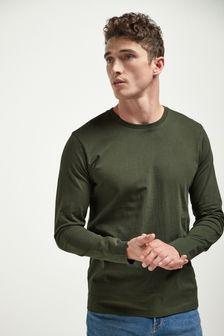 Dark Khaki Long Sleeve Crew Neck T-Shirt