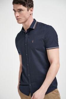 Navy Knitted Collar Short Sleeve Shirt