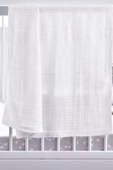 White Organic Cotton Cellular Blanket