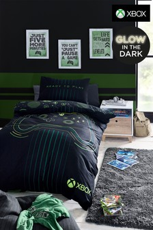 Black Black Glow In The Dark XBox Duvet Cover and Pillowcase Set