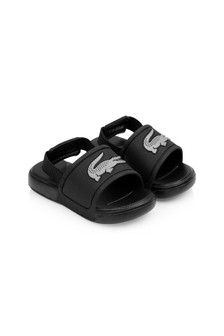 Lacoste Kids Black/Silver Logo Sliders