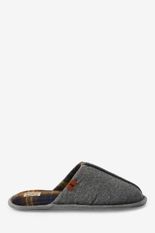 Grey Check Lined Felt Mule Slippers
