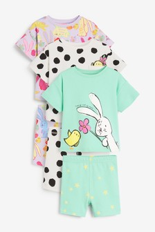 Mint/Lilac 3 Pack Bunny/Chick Short Cotton Pyjamas With Boxy Tops (9mths-12yrs)