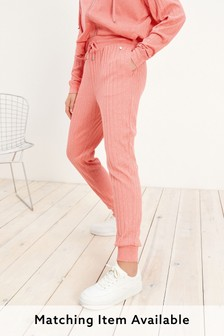 Coral Pink Supersoft Rib Joggers