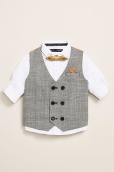 Grey Double Breasted Waistcoat, Shirt And Bow Tie Set (3mths-7yrs)