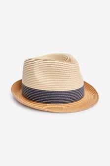 Natural Colourblock Trilby Hat