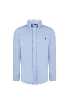 Ralph Lauren Kids Boys Light Blue Long Sleeve Blake Shirt