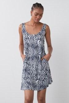 Navy Zebra Sleeveless Pocket Dress
