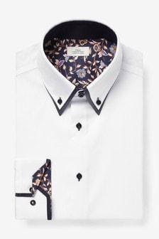 White Double Collar Contrast Trim Shirt