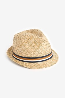 Natural Stripe Band Trilby Hat