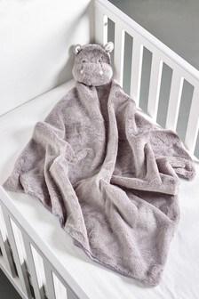 Grey Plush Hippo Blanket