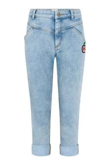 GUCCI Kids Girls Blue Denim Jeans