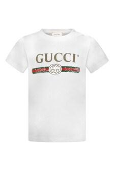 GUCCI Kids White Logo Print Baby Top