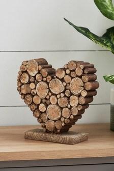 Brown Brown Wood Effect Heart Ornament