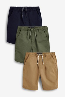 Navy/Khaki 3 Pack Pull-On Shorts (3-16yrs)