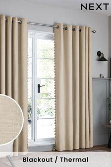 Natural Textured Tassel Eyelet Blackout/Thermal Curtains