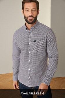 White/Burgundy/Navy Gingham Long Sleeve Stretch Oxford Shirt
