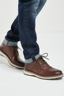Brown Leather Cleated Sole Boots