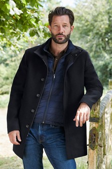 Navy Funnel Neck Coat With Removable Gilet