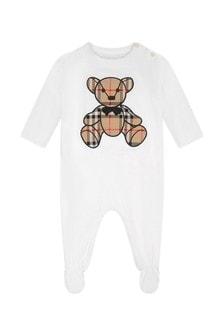 Burberry Kids White Cotton Teddy Babygrow