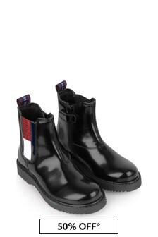 Tommy Hilfiger Girls Black Flag Logo Chelsea Boots