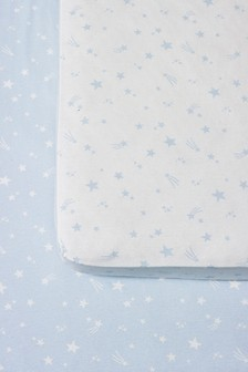 Blue 2 Pack Stars Cotton Fitted Sheets