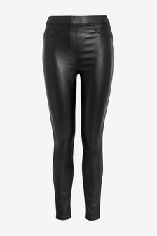 Black Sculpt Pull-On Coated Leggings