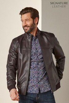 Brown Signature Leather Funnel Neck Jacket