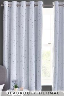 White White Embroidered Stars Eyelet Blackout Curtains