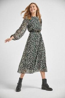 Animal Printed Long Sleeve Belted Dress