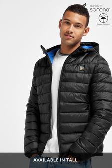 Black Shower Resistant Hooded Puffer Jacket With DuPont Sorona® Insulation