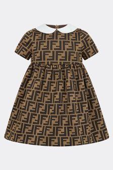 Fendi Kids Baby Girls Brown FF Logo Jersey Dress