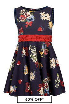 Monnalisa Girls Navy Neoprene Floral Dress