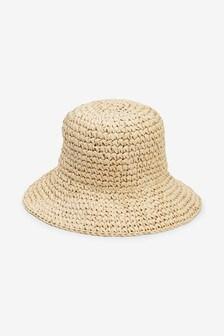 Neutral Bucket Straw Hat