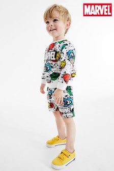 White All Over Print Marvel® Jersey Crew And Shorts Set (3mths-8yrs)