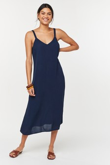 Navy Midi Slip Dress